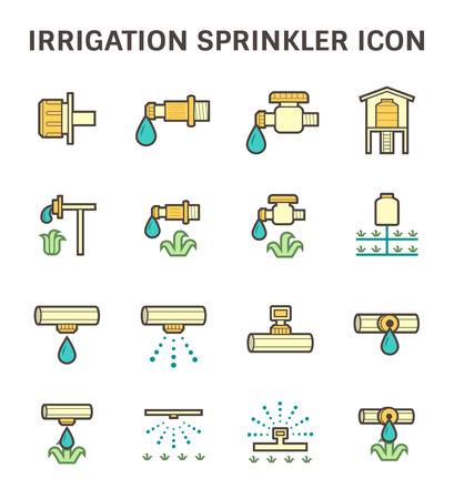 crop sprayer: Irrigation system and watering by sprinkler icon set design.