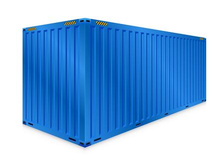 Fracht-Container oder Transportbehälter für die Logistik und den Transport isoliert auf weißem Hintergrund.