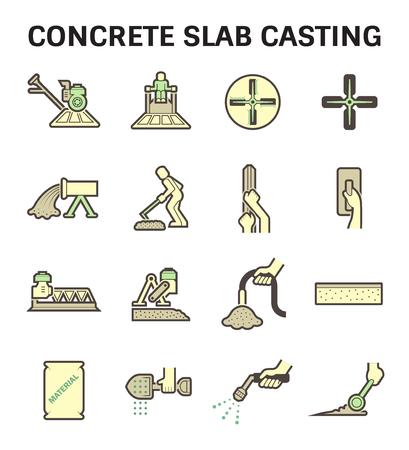 flooring: Concrete slab casting and floor icon sets. Illustration