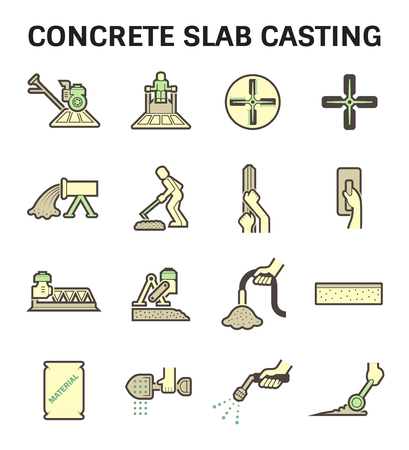 Concrete slab casting and floor icon sets. Illustration
