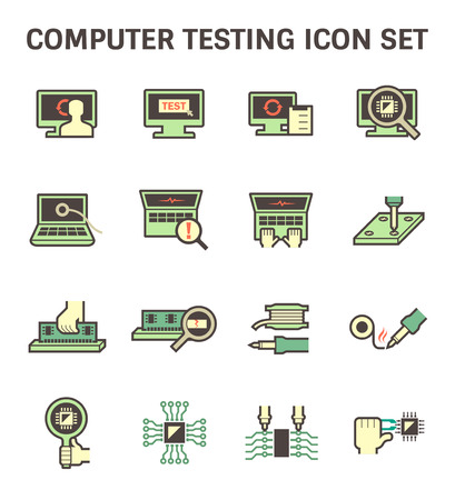 laptop repair: Computer testing icon sets design.