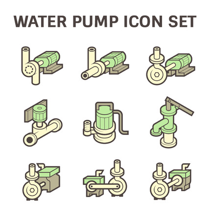 submerged: Water pump icon sets isolated on white background. Illustration