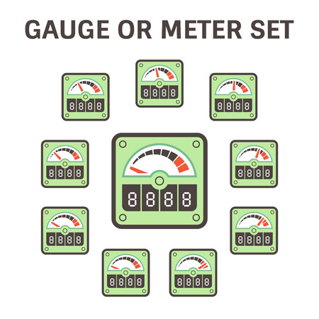 Gauge meter icon set design on white.