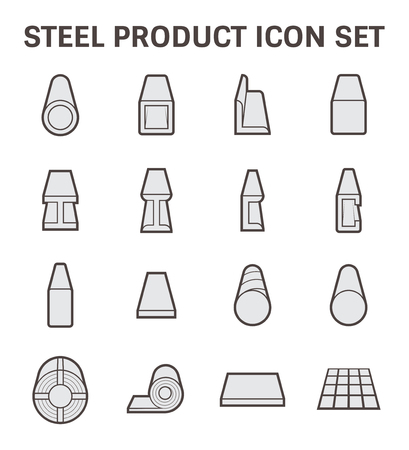acero: icono de la tubería de acero y material de construcción.
