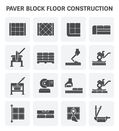 construction icon: block floor construction icon set design.