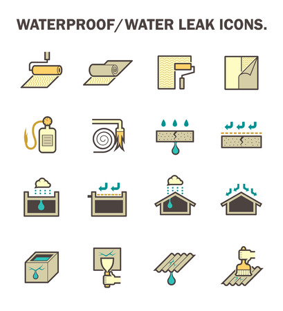 Waterproofing and water leaked icon set design. Vetores