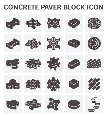 empedrado: bloques de hormigón o ladrillo icono conjuntos. Vectores