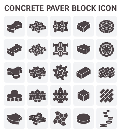 road paving: Concrete block or brick icon sets.