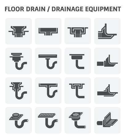 desagüe en el suelo o drenaje equipo conjunto de iconos. Ilustración de vector