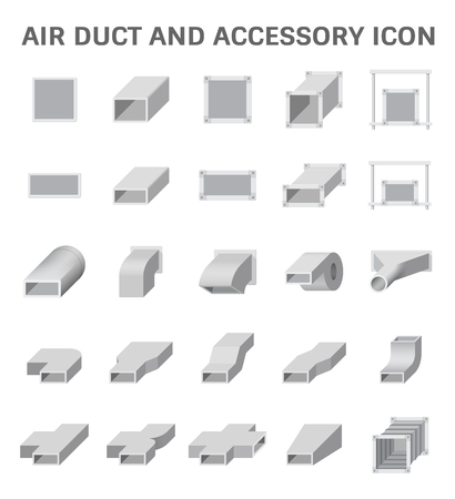 air duct: icon of air duct and accessory for air conditioning or HVAC system.