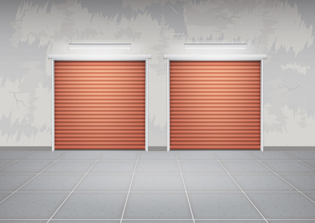 Shutter door or roller door and concrete floor outside building use for background.