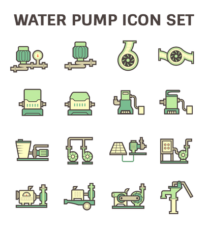 submerged: icon of water pump for plumbing and agriculture.