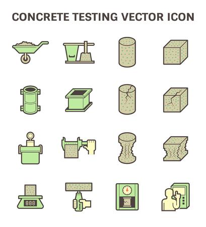 durability: Concrete testing icon set design.