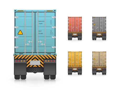 wheeler: trailer truck and cargo container for shipping and transportation isolated on white background. Illustration