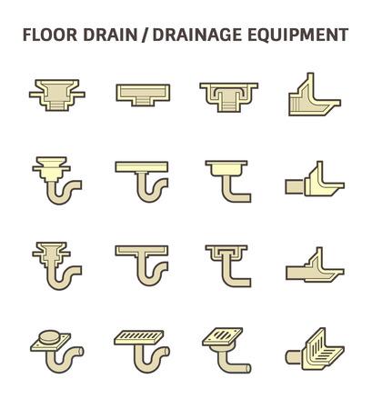 drainage: Floor drain or drainage equipment icon set.