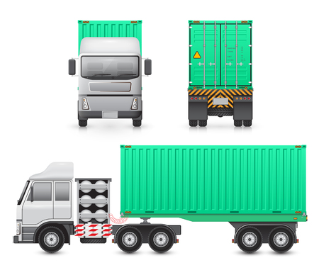 lpg: trailer truck and cargo container for shipping and transportation isolated on white background. Illustration