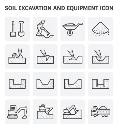 excavation: Soil excavation and equipment vector icon set design.
