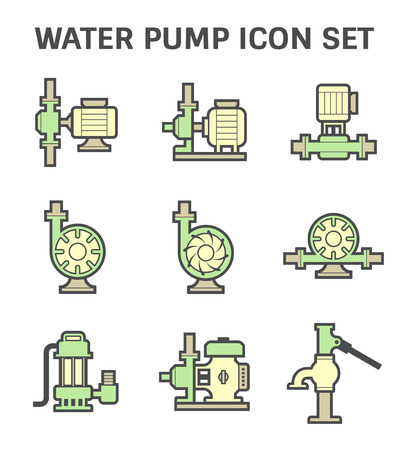 sewage system: Water pump vector icon set isolated on white background.