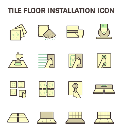 Tile floor installation and material vector icon set. Vektorové ilustrace