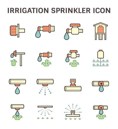 impianto di irrigazione e di irrigazione in base alla progettazione sprinkler set di icone vettoriali.