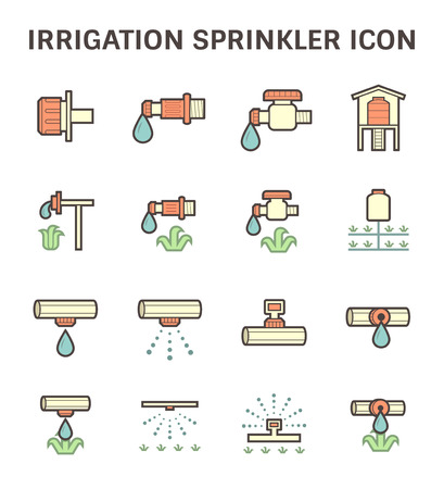 crop sprayer: Irrigation system and watering by sprinkler vector icon set design.