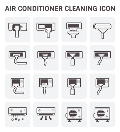 air compressor: Air conditioner and air filter cleaning vector icon set.