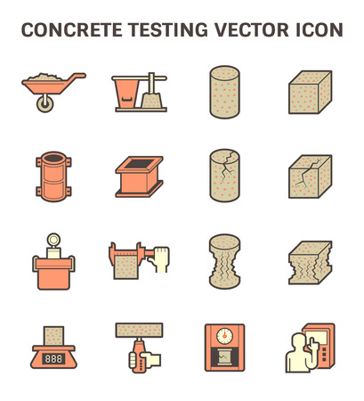 Concrete testen vector icon set design.