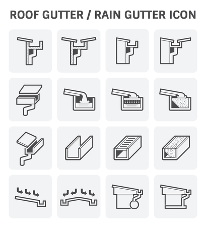 roofing system: Roof gutter or rain gutter for drainage system vector icon set design.