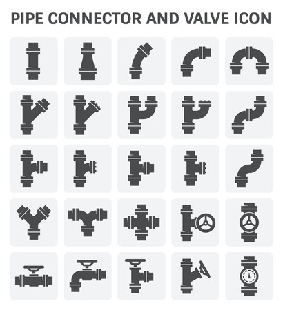 Pipe connector or pipe fitting and meter for plumbing and piping work. Illustration