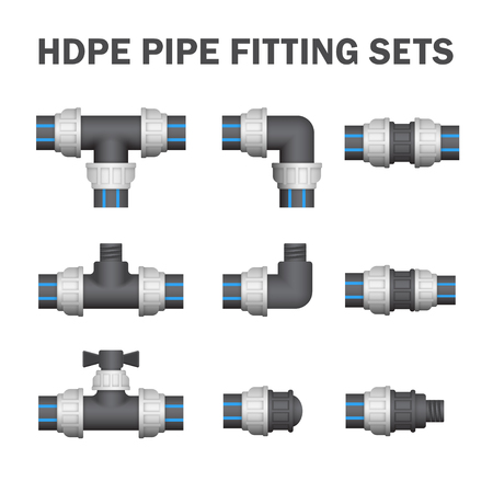 fitting: Vector of hdpe pipe fitting or pipe coupling isolated on white background.