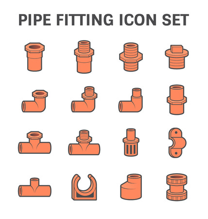 pipe connector: Vector icon of pipe fitting or pipe connector for plumbing and piping work. Illustration