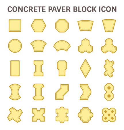 concrete block: Concrete paver block or paver brick  icon sets.
