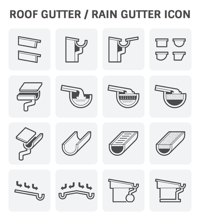Roof gutter or rain gutter for drainage system  icon set design.