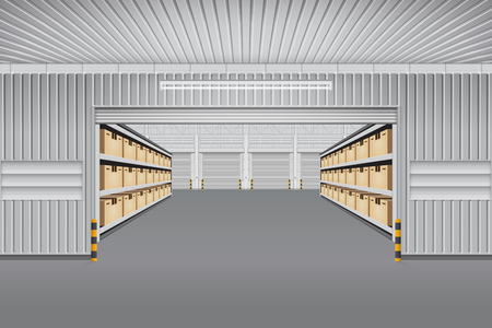 empty warehouse: Interior of warehouse building with cargo container box on shelves. Illustration