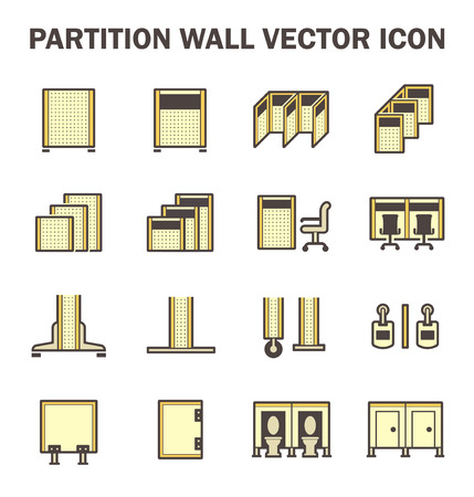 glass partition: Vector icon of partition wall or divide space equipment isolated on white background.