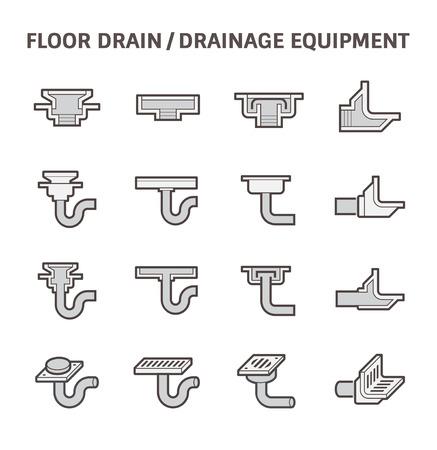 drainage: Floor drain or drainage equipment vector icon set. Illustration