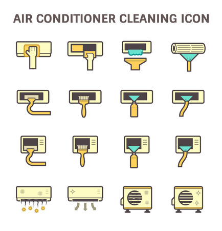 condenser: Air conditioner air compressor and air filter cleaning vector icon set design. Illustration