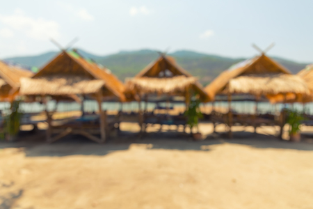 beach bar: Blurred image of waterfront restaurant at travel place.