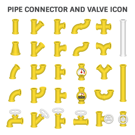 Steel pipe connector or steel pipe fitting and meter for plumbing and piping work. Illustration