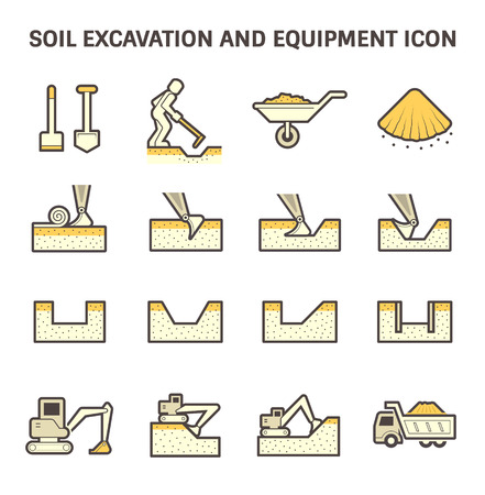 slopes: Soil excavation and equipment vector icon set design.