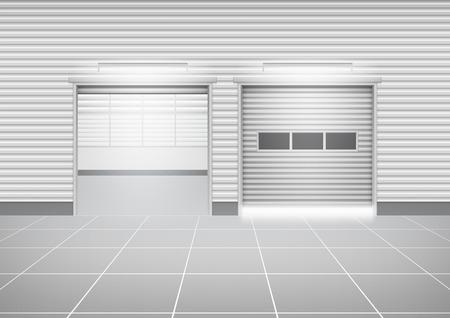 steel construction: Vector of roller shutter door  and tile floor outside factory building for industrial background.