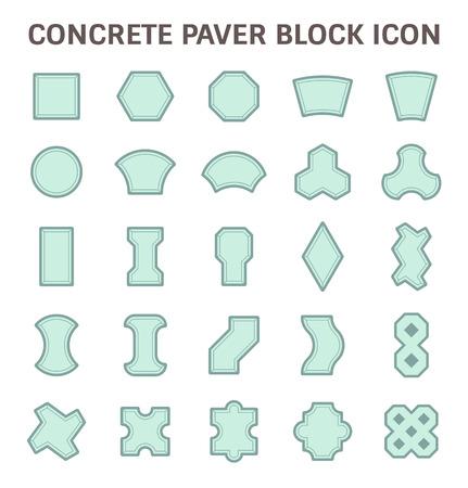 paver: Concrete paver block or paver brick vector icon sets.
