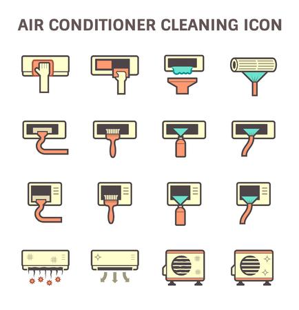 Compresor de aire del acondicionador de aire y el diseño de iconos conjunto de vectores de limpieza del filtro de aire. Foto de archivo - 69148121