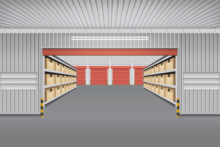 container box: Interior of warehouse building with cargo container box on shelves. Illustration