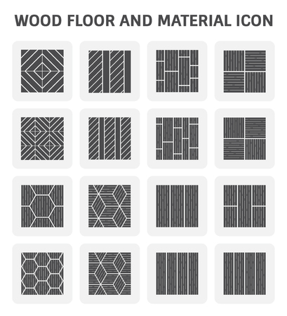 linoleum: Wood floor pattern and material vector icon set design.