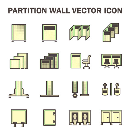 screen partition: Vector icon of partition wall or divide space equipment isolated on white background.