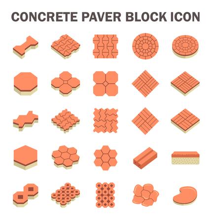 limestone: Concrete paver block floor vector icon set.