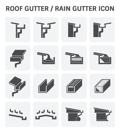 Dachrinne für Symbol Entwässerungssystem Vektor-Set Design.