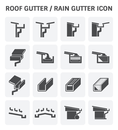roof: Roof gutter for drainage system vector icon set design.