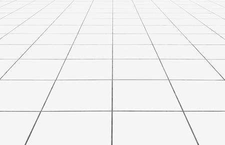 白いタイル床きれいな幾何学的なラインとの条件背景。 写真素材